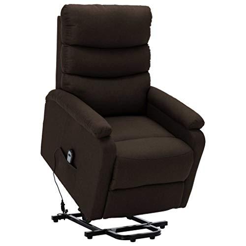 vidaXL Sessel mit Aufstehhilfe Aufstehsessel Fernsehsessel Relaxsessel TV Ruhesessel Polstersessel Liegesessel Loungesessel Dunkelbraun Stoff