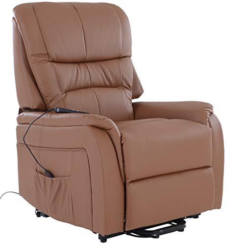 RABURG Fernsehsessel JAN mit elektrischer Aufstehhilfe - Schlafsessel XXL mit Liege- & Relaxfunktion aus Soft-Touch-Kunstleder in COGNAC - mit 2 kraftvollen Motoren + Fernbedienung