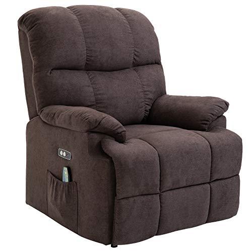 HOMCOM Massagesessel Aufstehhilfe Relaxsessel mit Wärmefunktion USB Fernbedienung Kurzplüsch Braun 94 x 96 x 104 cm